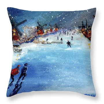 Winter In The Netherlands Throw Pillow