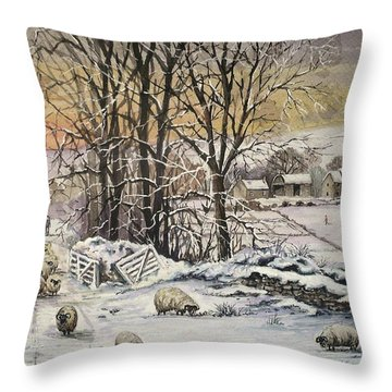 Winter In The Ribble Valley Throw Pillow by Andrew Read