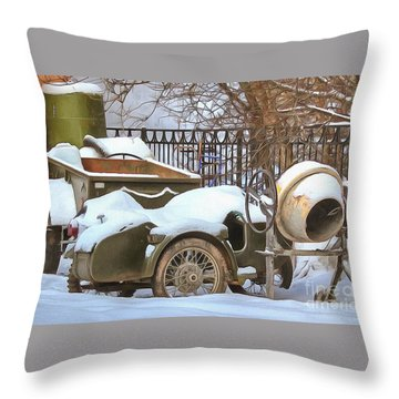 winter in the village Russian Throw Pillow