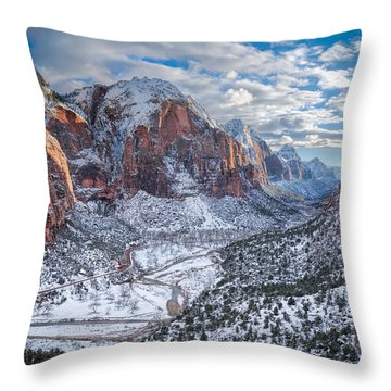Winter In Zion National Park Throw Pillow