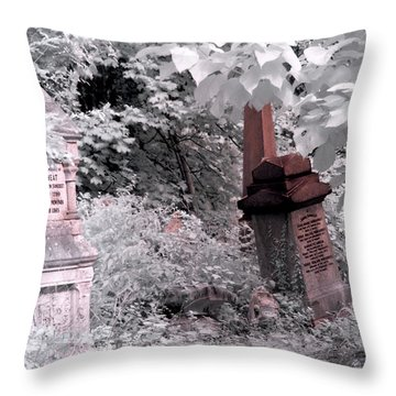 Winter Infrared Cemetery Throw Pillow