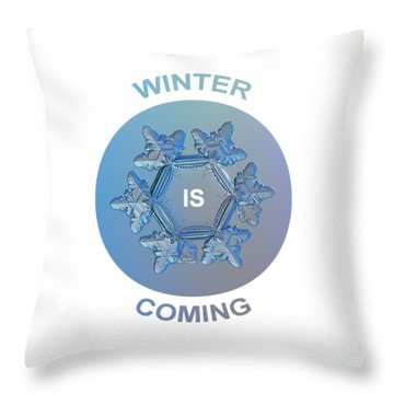 Winter Is Coming - Snowflake Illustration Throw Pillow by Alexey Kljatov