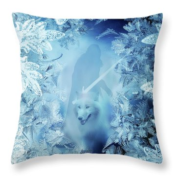 Winter Is Here - Jon Snow And Ghost - Game Of Thrones Throw Pillow by Lilia D