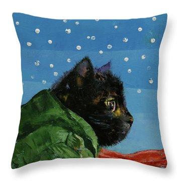 Winter Kitten Throw Pillow