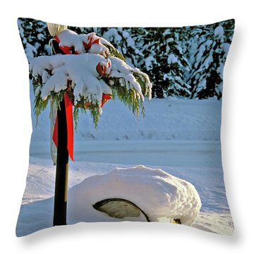 Winter Lamp Post In The Snow With Christmas Bough Throw Pillow