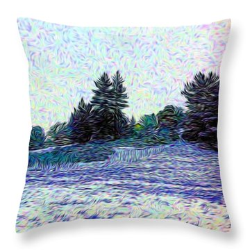 Winter Landscape 2 In Abstract Throw Pillow