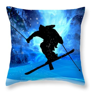 Winter Landscape And Freestyle Skier Throw Pillow by Elaine Plesser