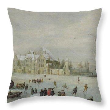 Winter Landscape Throw Pillow by Barent Avercamp