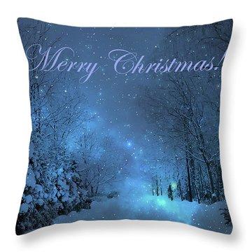 Winter Landscape Blue Christmas Card Throw Pillow