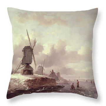 Winter Landscape Throw Pillow by Frederick Marianus Kruseman