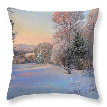 Winter Landscape In The Morning Throw Pillow