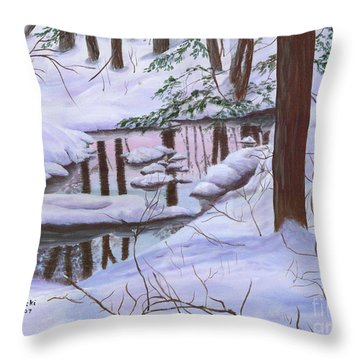 Throw Pillow featuring the painting Winter Landscape by Judy Filarecki