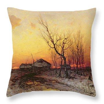 Winter Landscape Throw Pillow by Julius Sergius Klever