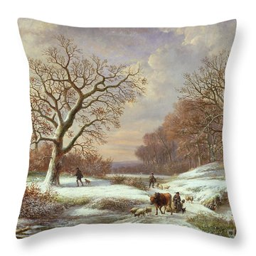 Winter Landscape Throw Pillow by Louis Verboeckhoven