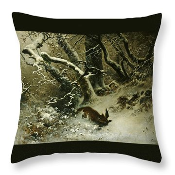 Winter Landscape Throw Pillow by Ludwig Munthe