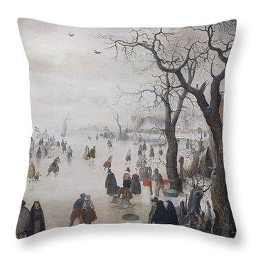 Winter Landscape Near A Village Throw Pillow