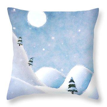 Winter Landscape Under Full Moon Throw Pillow