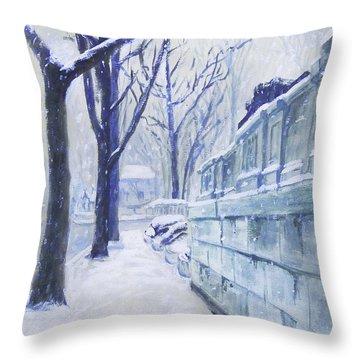 Winter Landscape Washington Dc Original Painting Sketch Throw Pillow