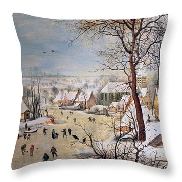 Winter Landscape With Birdtrap Throw Pillow by Pieter the elder Bruegel