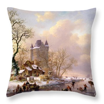 Winter Landscape With Castle Throw Pillow