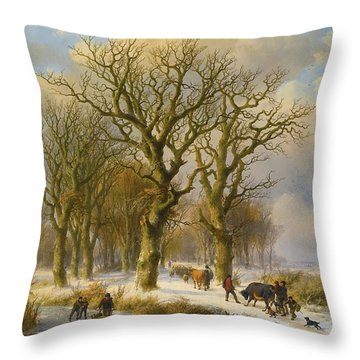Winter Landscape With Cattle  Drivers Throw Pillow