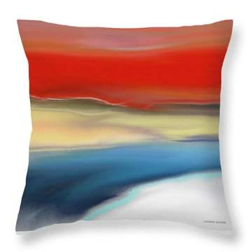 Winter Landscape With Sunset Throw Pillow