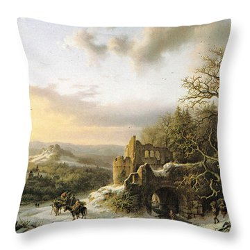 Winter Landscape With Peasants Gathering Wood Throw Pillow