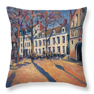 Winter Light At The Our Lady Square In Maastricht Throw Pillow