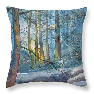 Winter Light In The Forest Throw Pillow