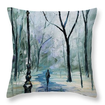 Winter Light Throw Pillow by Leonid Afremov