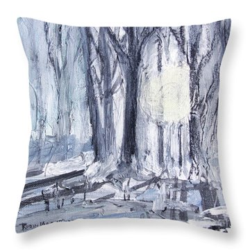 Throw Pillow featuring the painting Winter Light by Robin Maria Pedrero