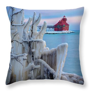 Winter Lighthouse Throw Pillow