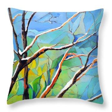 Winter Locust Tree Throw Pillow
