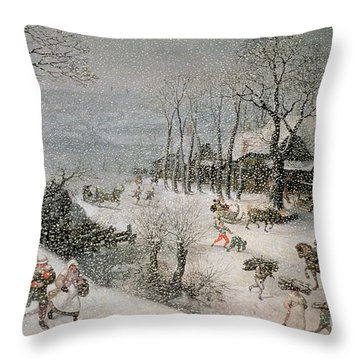 Winter Throw Pillow by Lucas van Valckenborch