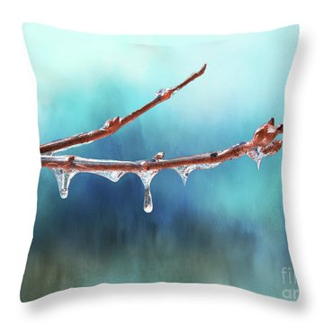 Winter Magic - Gleaming Ice On Viburnum Branches Throw Pillow