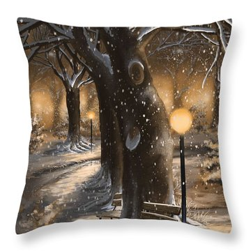 Throw Pillow featuring the painting Winter Magic by Veronica Minozzi