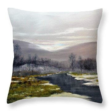Throw Pillow featuring the painting Winter Marsh by Ken Ahlering