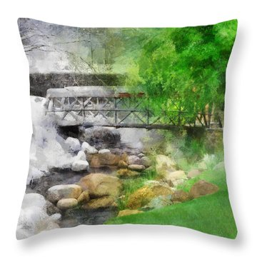 Throw Pillow featuring the digital art Winter Melt To Spring by Francesa Miller