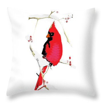 Throw Pillow featuring the mixed media Winter Messenger by Larry Talley