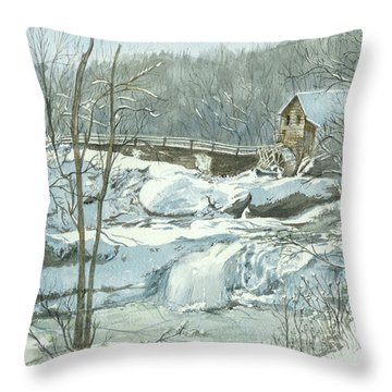 Throw Pillow featuring the painting Winter Mill by Lynn Babineau
