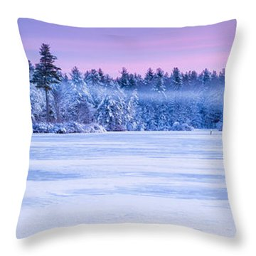 Winter Mist Baxter Lake New Hampshire Throw Pillow