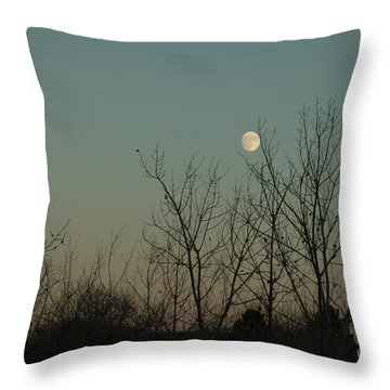 Throw Pillow featuring the photograph Winter Moon by Ana V Ramirez