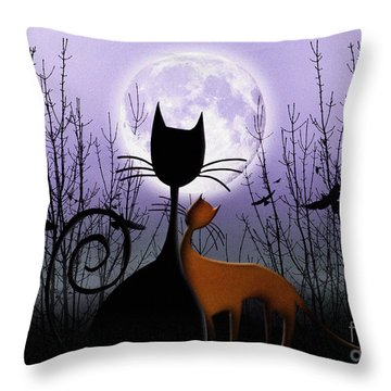 Winter Moon Cats In Love Throw Pillow