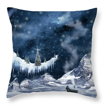 Winter Moon Throw Pillow by Mihaela Pater