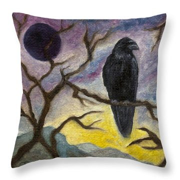 Winter Moon Raven Throw Pillow