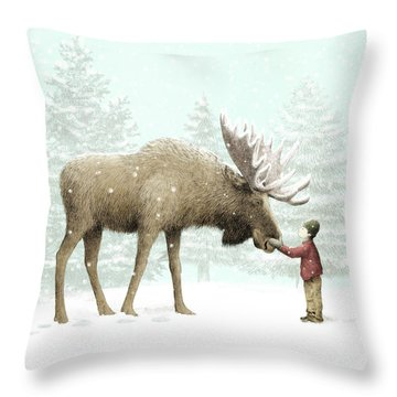 Winter Moose Throw Pillow