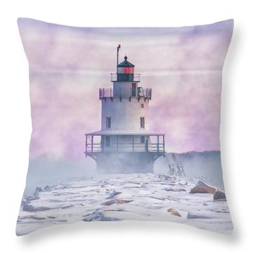 Winter Morning At Spring Point Ledge Throw Pillow