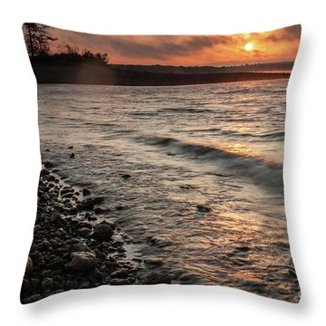Throw Pillow featuring the photograph Winter Morning At The Vetran's Lake by Iris Greenwell