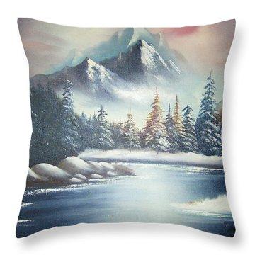 Winter Mountain Throw Pillow