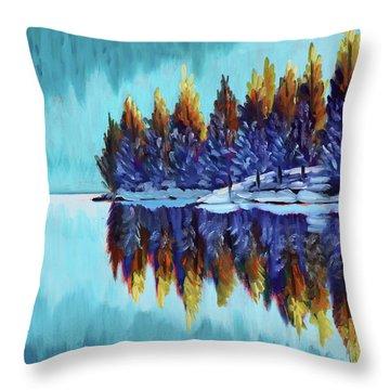 Winter - Mountain Lake Throw Pillow